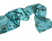 fashionable Silk scarf Womens  blue turquoise grey black hand marbled silk scarf Caribbean mood