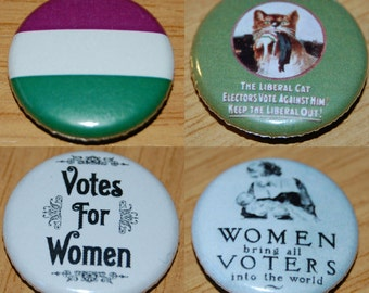 Suffragette Button Badge Set 25mm / 1 inch Feminist - Feminism - Vintage