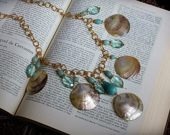 GIFT FROM the SEA Aquamarine Gold Shell Necklace