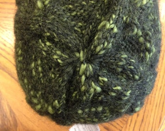 Green Cable Knit Hat Child Hat Winter Hat made in Colorado