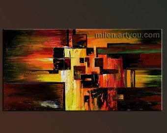 Abstract Original oil painting on canvas Made to Order Contemporary modern geometric Huge Handmade office wall Colorful multicolor by Milen