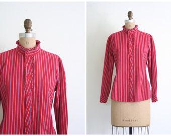 vintage 70s ladies Victorian inspired blouse - high ruffled collar / Ticking Stripe - red & blue / 1970s prairie top