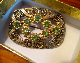 Marvelous, Detailed 1910's Art Nouveau/Victorian BRASS Vintage Brooch/Pin With REPOUSSE, Etching, Embossing, GREEN Rhinestones
