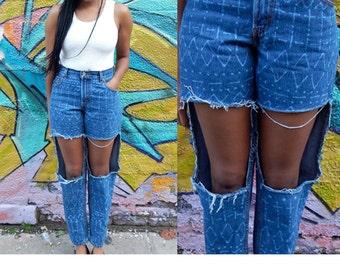 High Waist Jeans / Ripped Jeans / Distressed Jeans / Bleached Denim Jeans / Acid Wash Jeans / Medium / M