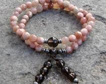 Joy and positivity, genuine faceted sunstone and smokey quartz 54 bead wrap mala bracelet