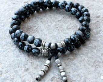 Courage, obsydian gemstone 54 bead wrap mala bracelet