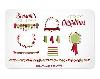 Christmas Polka Dot Clip Art - Blog Graphics - Instant Download