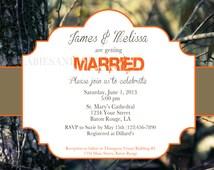 Real tree Camo Wedding Invitation / Bridal Invitation / Camo Invitation / Wedding Invitation Digital File 4x6 or 5x7 Duck Dynasty Wedding