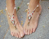 Wedding bridal white barefoot sandals bridal anklets beach shoes macrame toe ring beaded foot jewelry brass tagt team
