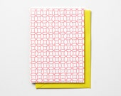 Circle Pattern, in neon pink or neon green, folded letterpress note card