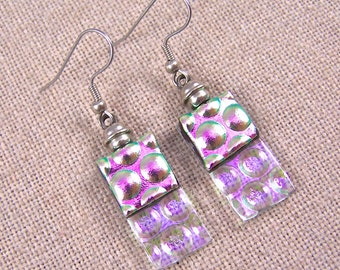 Dichroic Dangle Earrings - Pink Magenta with Clear  - Reverse Radium Bubbles Fused Glass- Surgical Steel French Wire or Clip On