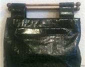 Sale !!! Vintage Black Eel Skin Handbag
