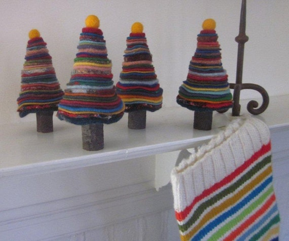 Wool Penny Circles Christmas Tree - Felted Wool and Sweater Circle Stacks