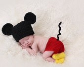 Mickey Mouse baby hat and diaper cover set