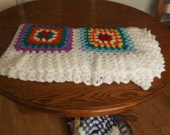 Handmade chunky crochet blanket -  Made in tradition granny type multi colour style (nannycheryl original) ID  825  (C)