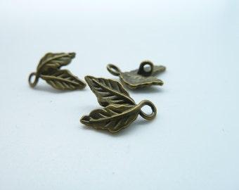 30pcs 10x15mm Antique Bronze Leaf Two Leaves Connector Link Charm Pendant c725