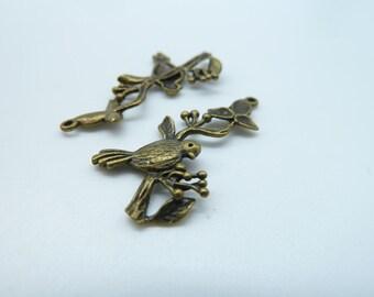 5pcs 15x30mm Antique Bronze Brass Filigree Flower Bird Charms Pendant Connector Link(Two Holes)  c1087