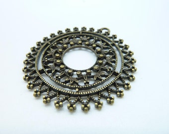 6pcs 40mm Antique Bronze Filigree Flower Round Charm Pendant c1635