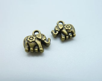 25pcs 12x12mm Antique Bronze  Mini Elephant Charm Pendant c1660