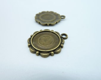 15pcs 14mm Antique  Bronze Cameo Cabochon Base Setting Pendants c2646