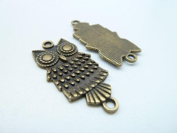 10pcs 14x34mm Antique Bronze Filigree Owl Connector Link Charm Pendant c1603