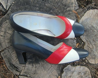 Vintage Retro Heels Pumps Pinup Rockabilly Vinyl Red White Blue Mod Mid Century 6 6.5