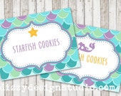 Mermaid Under the Sea Food Labels - DIY printable file