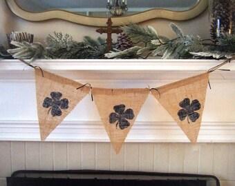 Notre Dame Banner - Irish Mini Banner - Four Leaf Clover - Navy & Gold - Burlap Banner - Go Irish