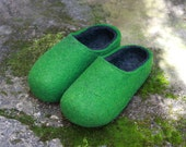 Hand Felted Soft Wool Slippers for Everyone in Green with  Dark Gray inside .