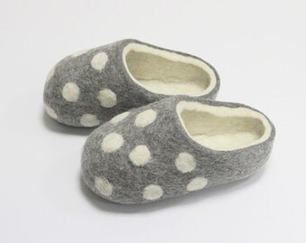 Hand Felted Slippers for Everyone. Gray with White Dots and White inside. made to order.