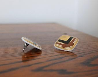 Vintage 70s MOD Metallic Gold Brown & Black Plaid Geometric SQUARE Ceramic Button-Style Posts Pierced Earrings