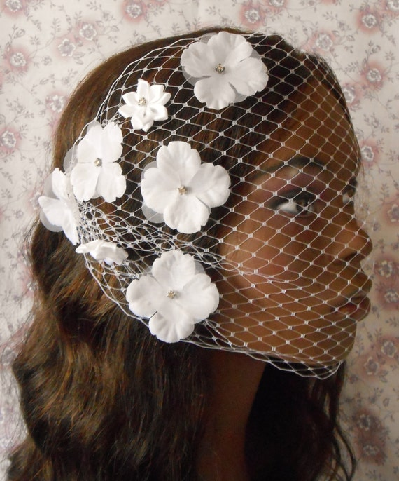 Glam White Birdcage Veil With Flowers