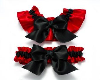 Wedding garters - bridal garters - red and black garters with black bows - red wedding garters - red satin garter set - red and black garter