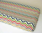 Organic Changing Pad Cover - Contoured - Muticolored Chevrons - Zig Zag