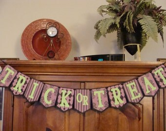 Trick or Treat Banner -  Damask, Argyle & Stripe Pennants with Lime Green Letters #7