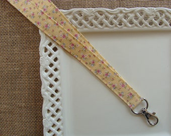 Lanyard Badge ID - Shabby Chic Flowers on Yellow
