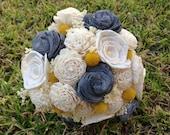 Handmade Natural Yellow, Grey, Ivory  Balsa Wood Flower Wedding Bouquet---Sola Flower Billy Ball  Bouquet