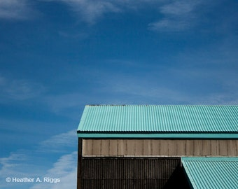 Industrial Warehouse, Blue Sky, clouds, lines, minimalist, simple, Turquoise, black, teal, photograph