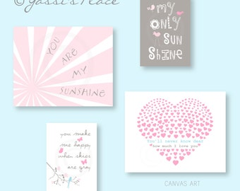 CANVAS ART, Baby Girl Nursery Decor, You Are My Sunshine, Brooklyn, Kids wall art in Pink Gray and Blue by YassisPlace