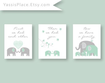 Twins Nursery Art, First We Had Each Other, Elephant Nursery Decor,  Nursery Art Prints in Green and Grey, Kid Wall Art by YassisPlace