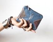 SALE Blue Coin Purse Leather zipper