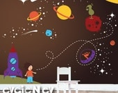 Boy Nursery Wall Decal -  Outer Space Wall Decor with Stars and Astronaut - PLOS010R