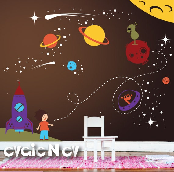 Boy nursery wall decal outer space wall decor with stars for Outer space decor