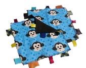 Winter SALE - 2pk - 100% Pure Flannel Washcloths / Wipes in Blue Monkies