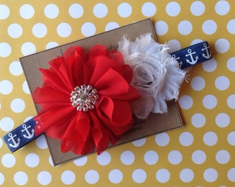 4th of July Headband Red White & Blue Navy Anchor Nautical Headband Photo Prop