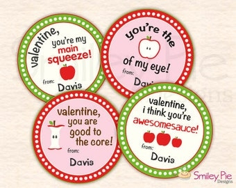 Applesauce Pouch Valentine Toppers - Personalized - Printable file