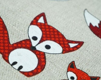 Funny FOX -- linen cotton fabric--natural