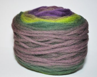 KAUNI Chunky Wool Pencil Roving, Knitting, Spinning or Felting Fiber, green, purple, forest green, violet