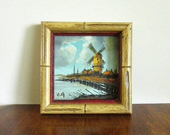 Village with Windmill Dutch Framed 5x5 Painting, by LG