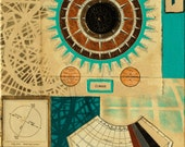 Dream, mixed-media/acrylic on canvas, map art